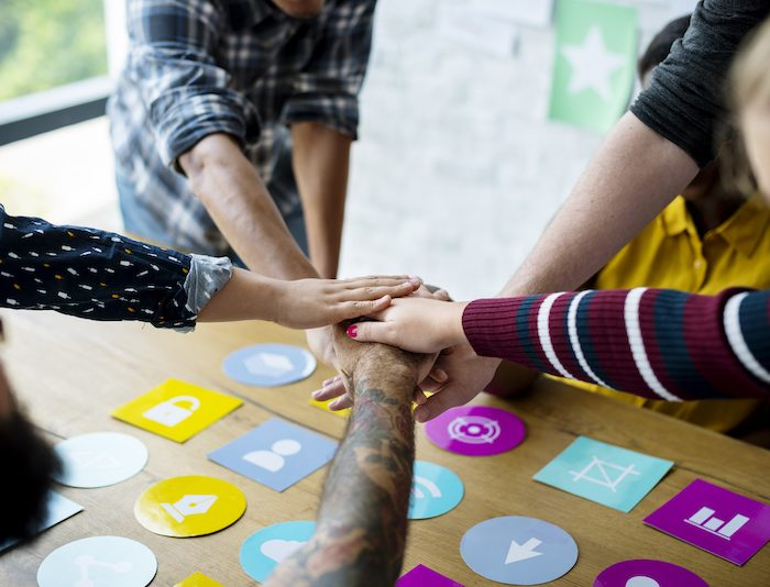 Group of people team support startup business